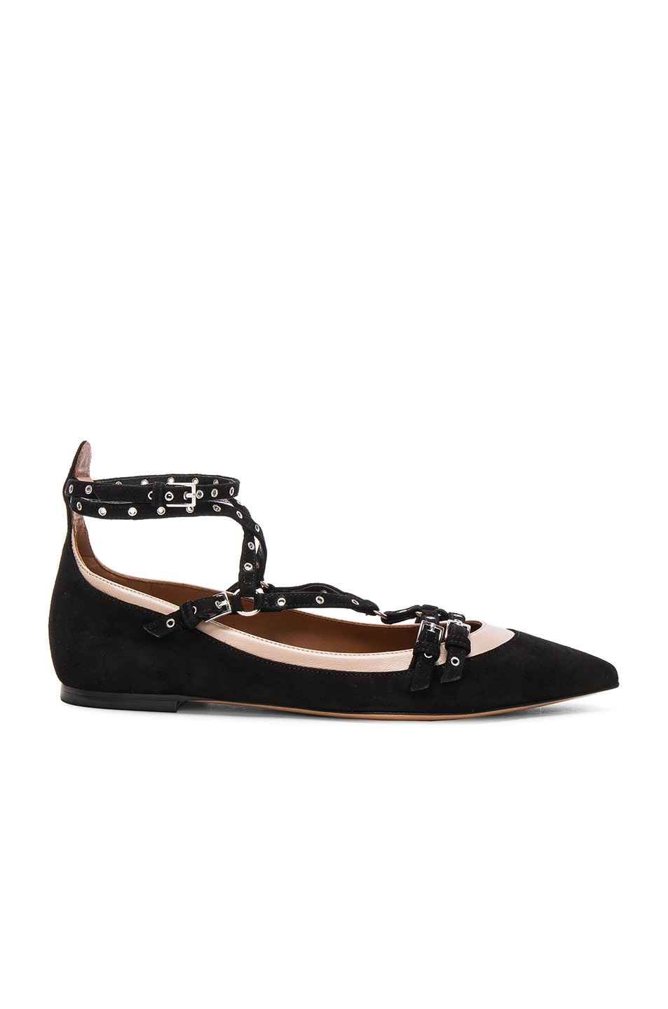 Image 1 of Valentino Suede Rockstud Ballerina Flats in Black & Poudre