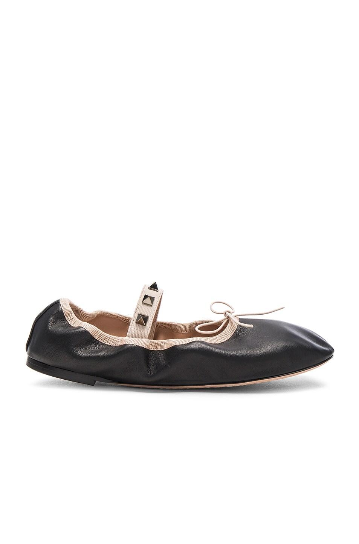 c2b8a89c2 Image 1 of Valentino Rockstud Leather Ballerina Flats in Black