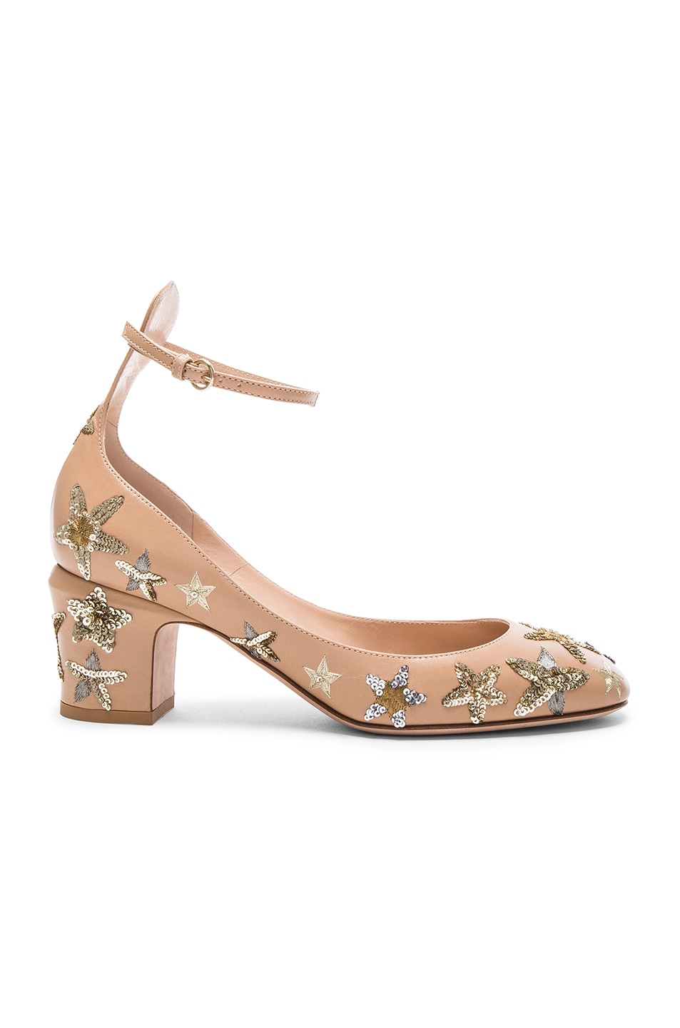Image 1 of Valentino Leather Tan-Go Pumps in Poudre