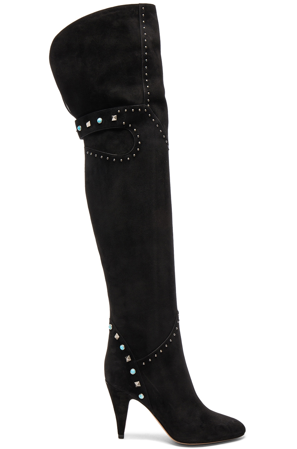 Image 1 of Valentino Studded Suede Over The Knee Boots in Nero