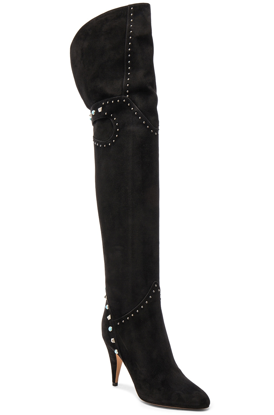 Image 2 of Valentino Studded Suede Over The Knee Boots in Nero