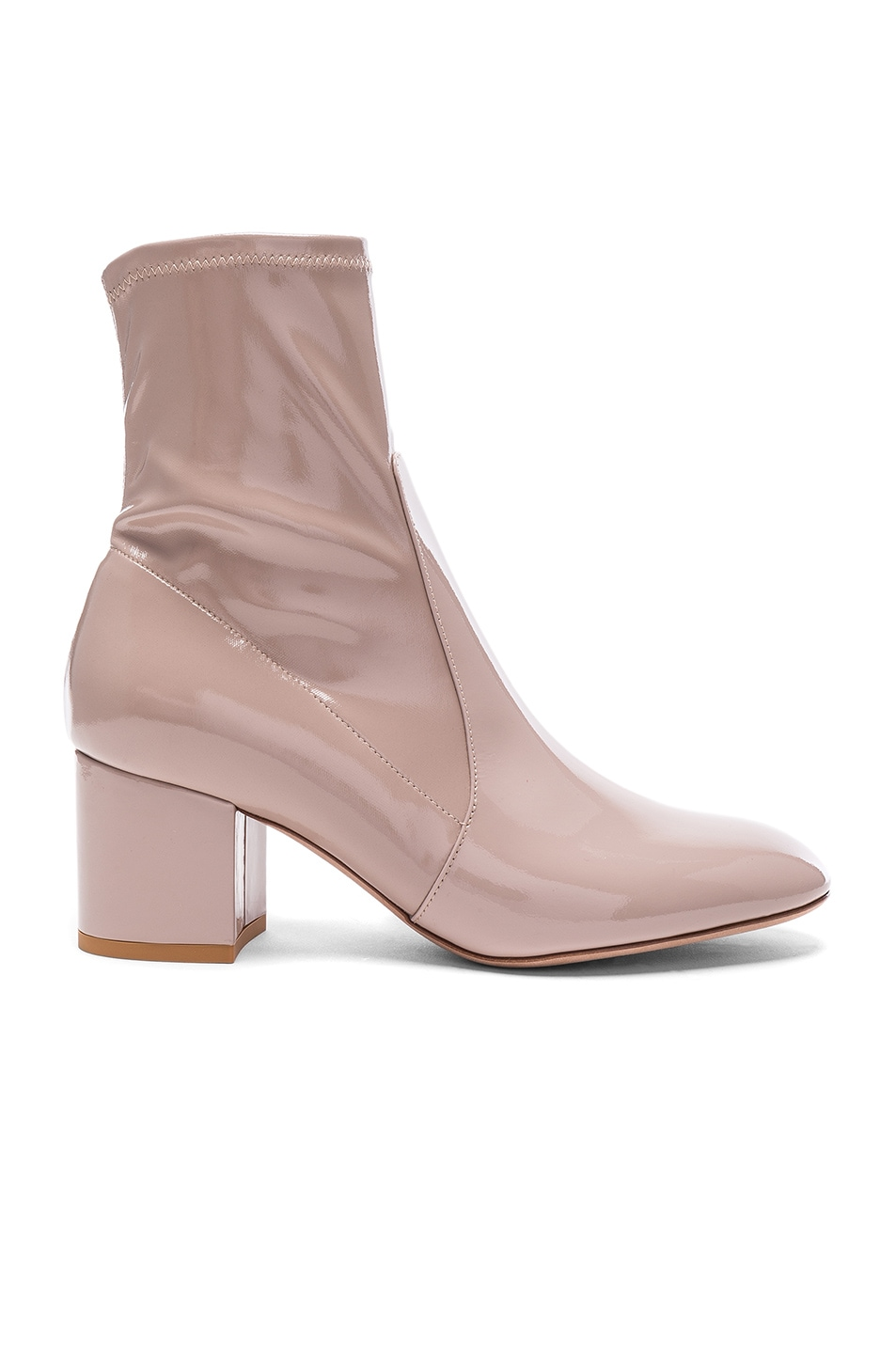 Image 1 of Valentino Patent Leather Booties in Poudre