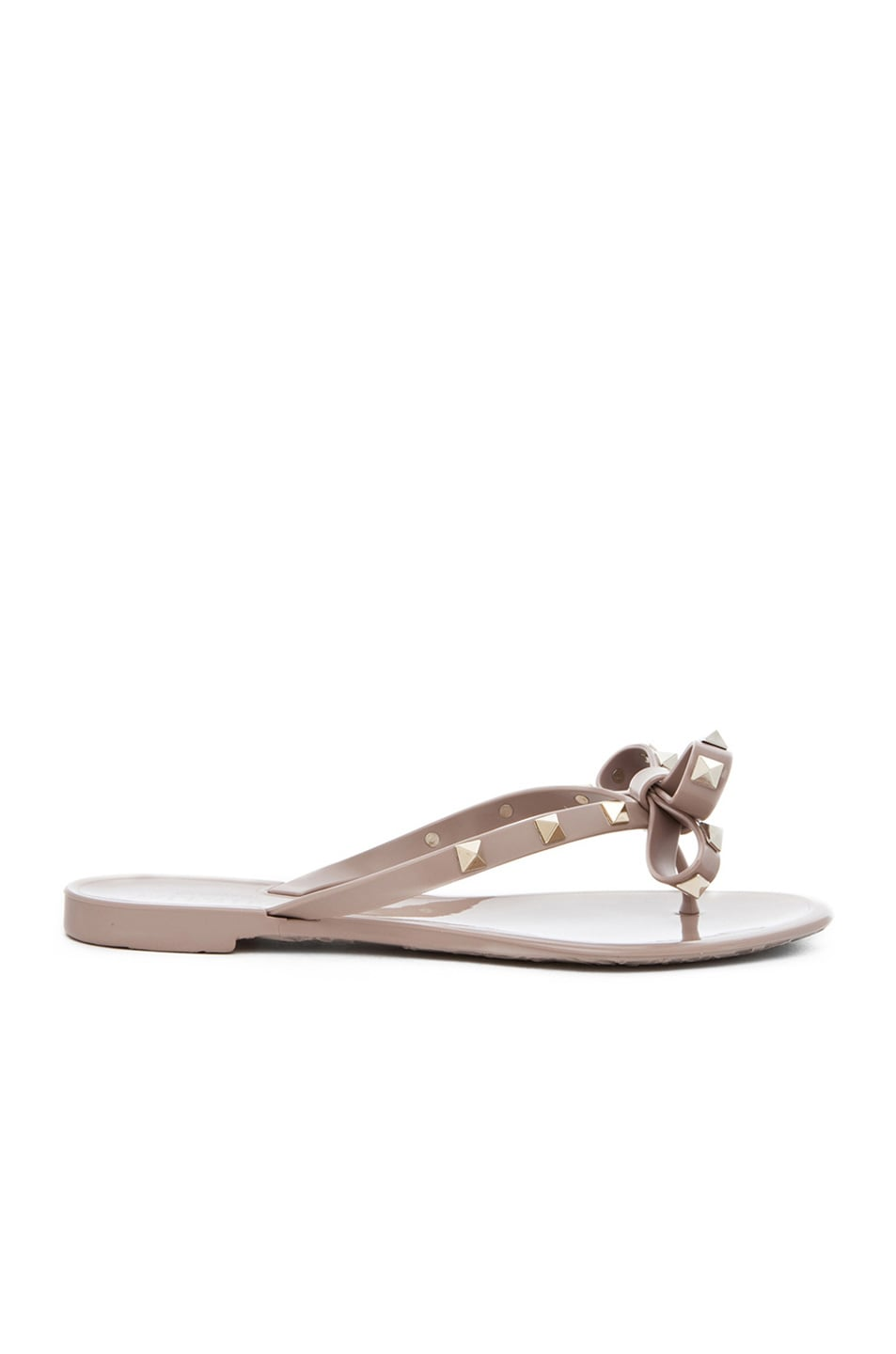 Image 1 of Valentino Rockstud Bow PVC Jellys in Nude & Platinum