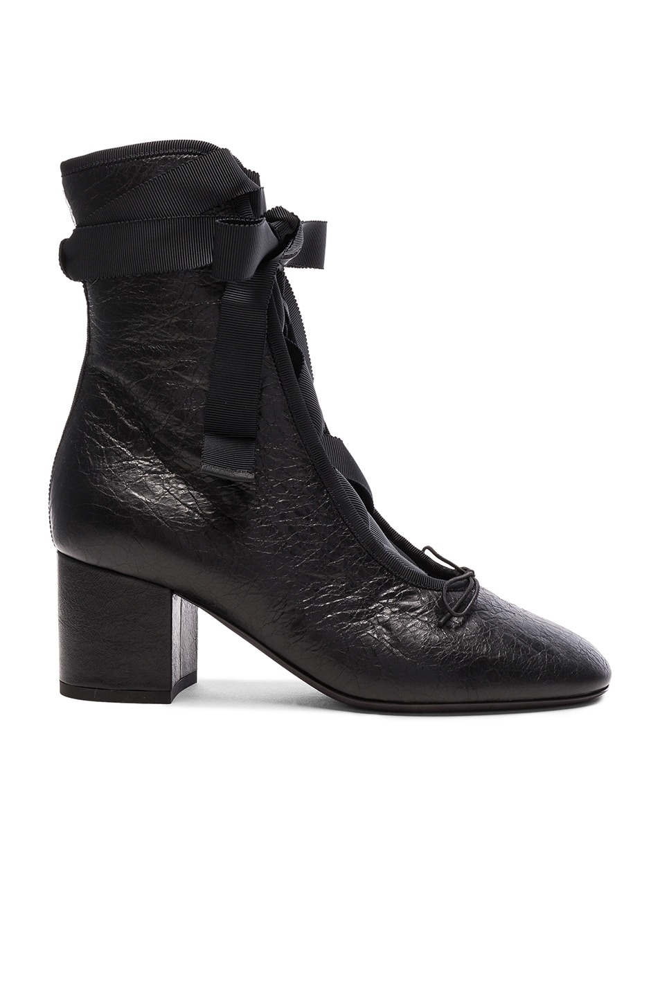 Image 1 of Valentino Crinkled Leather Ballet Booties in Black