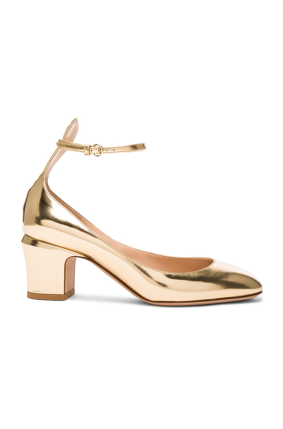 Image 1 of Valentino Leather Tan-Go Pumps in Gold Vintage