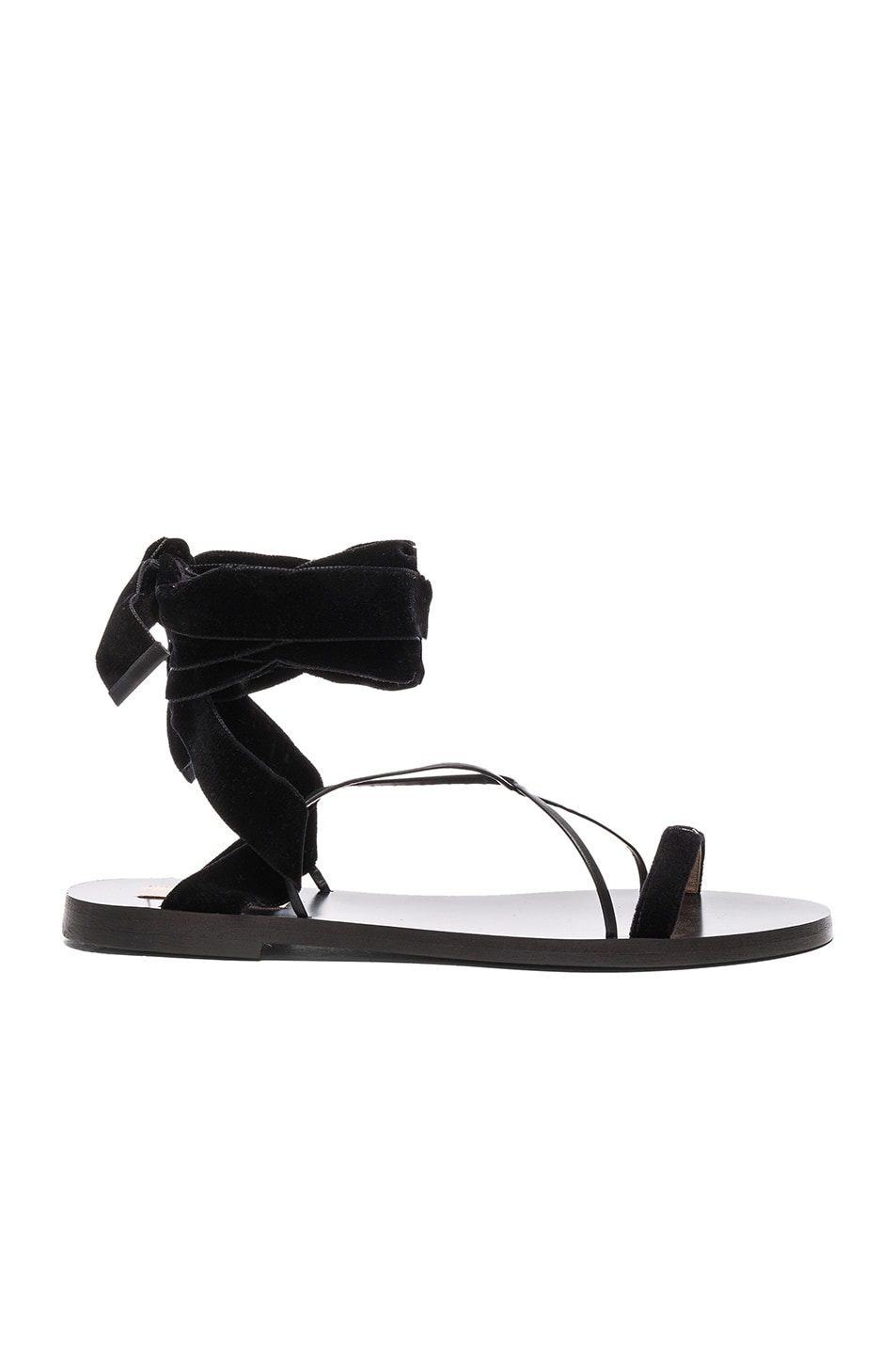 Image 1 of Valentino Flat Velour Ankle Tie Sandals in Black & Black