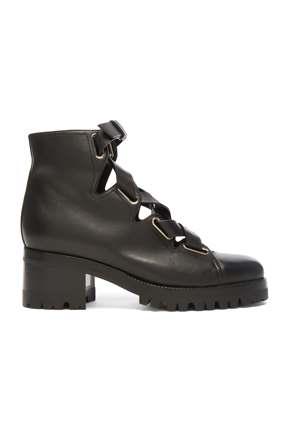 Image 1 of Valentino Cross Strap Leather Combat Boots in Black