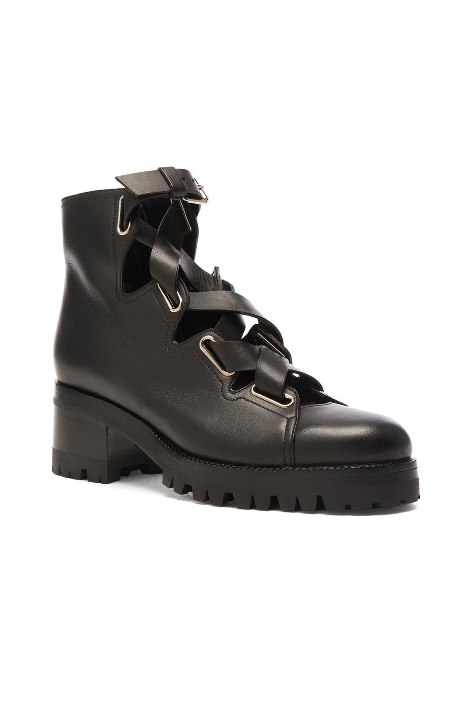 Image 2 of Valentino Cross Strap Leather Combat Boots in Black