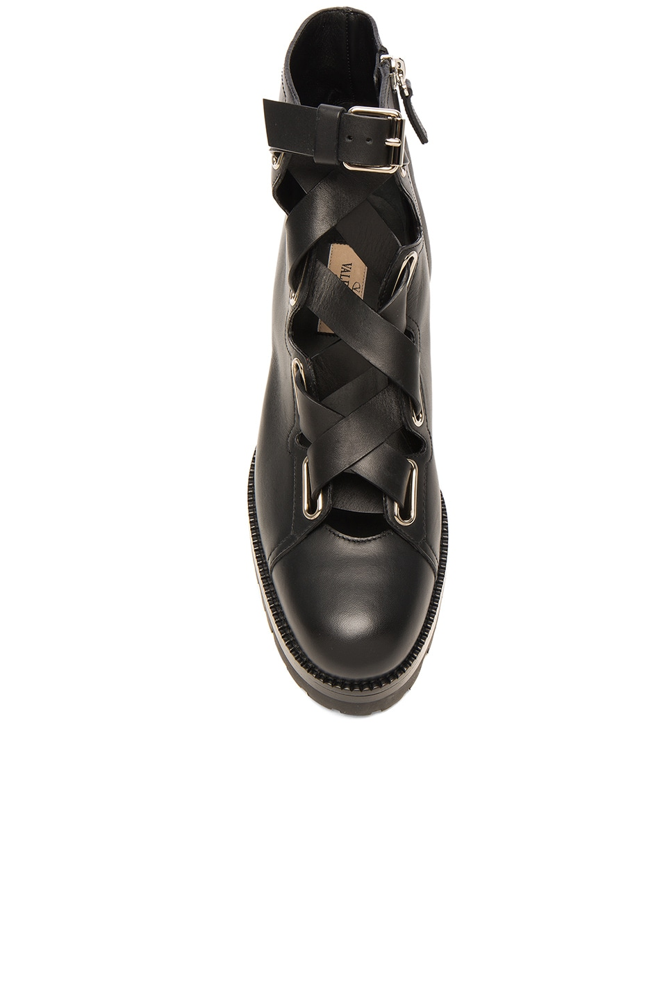 Image 4 of Valentino Cross Strap Leather Combat Boots in Black