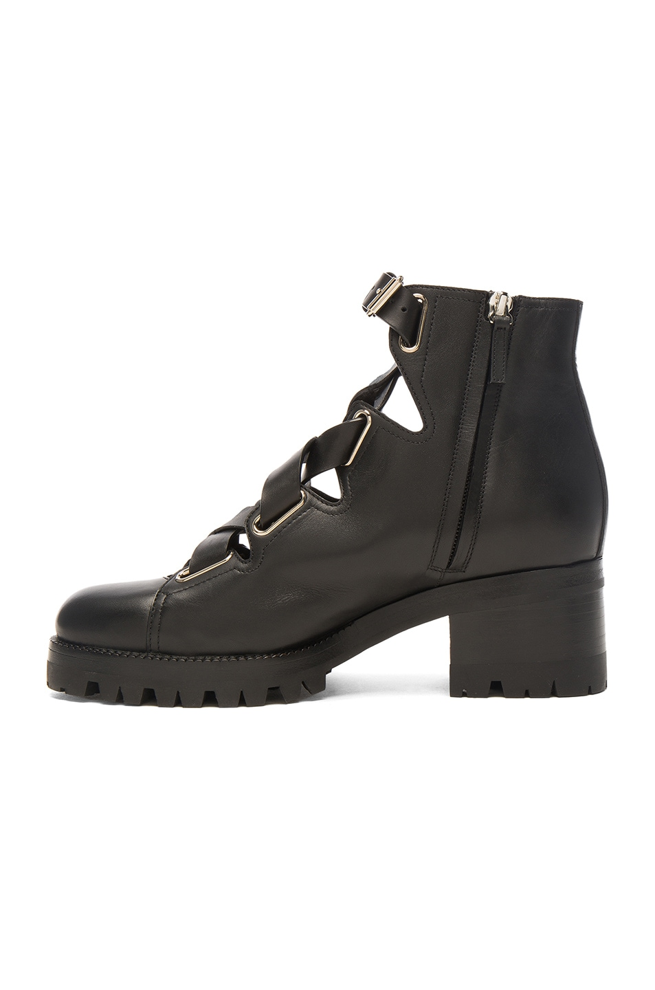 Image 5 of Valentino Cross Strap Leather Combat Boots in Black