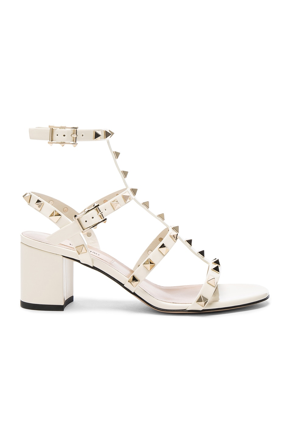 Image 1 of Valentino Patent Leather Rockstud Sandals in Light Ivory