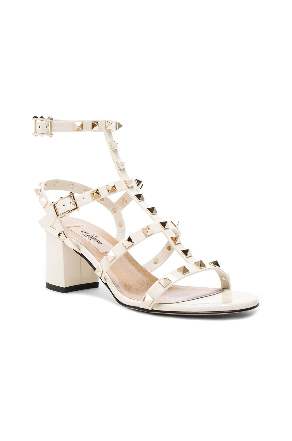 Image 2 of Valentino Patent Leather Rockstud Sandals in Light Ivory