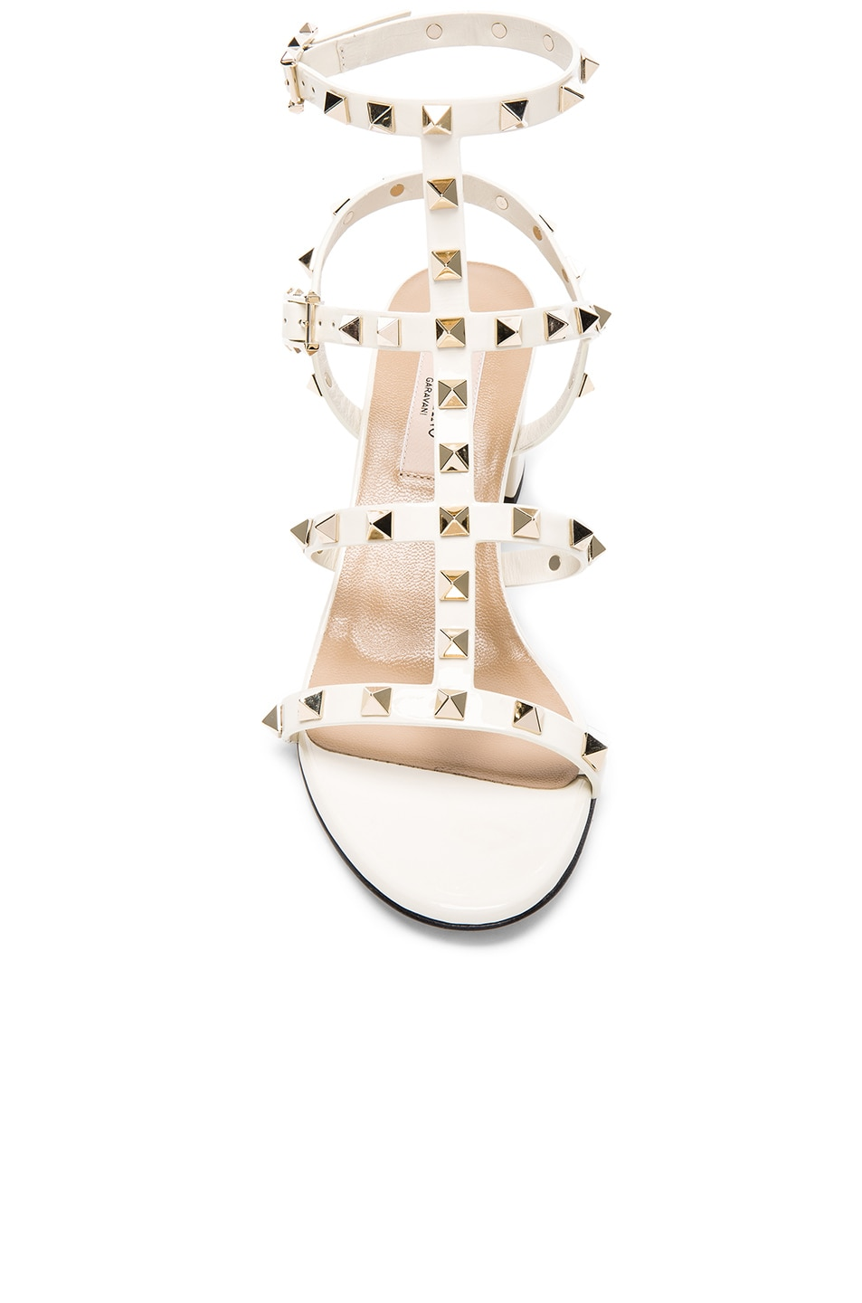 Image 4 of Valentino Patent Leather Rockstud Sandals in Light Ivory