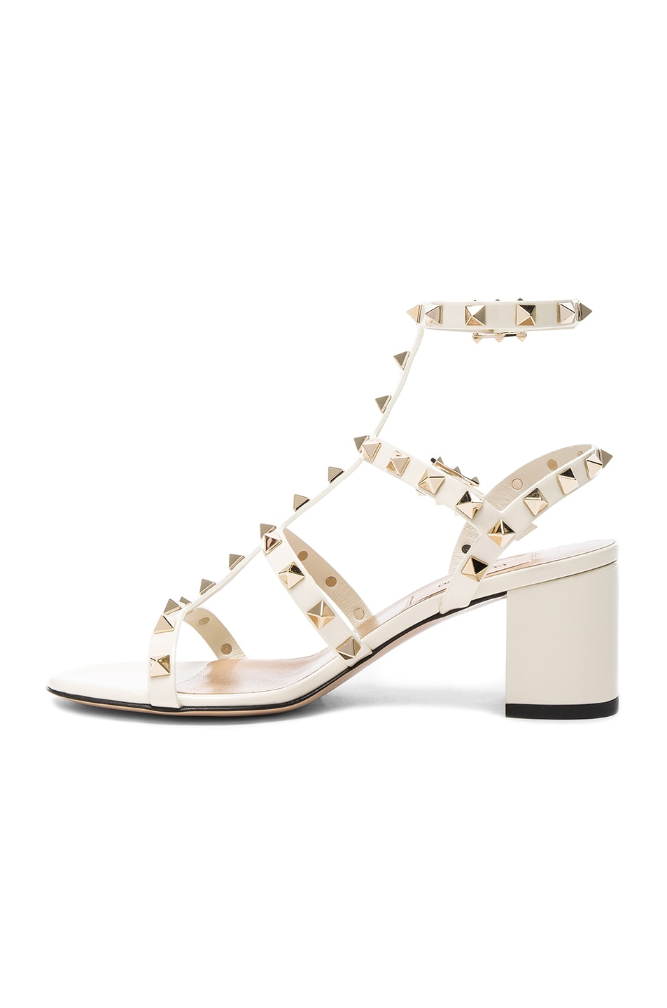 Image 5 of Valentino Patent Leather Rockstud Sandals in Light Ivory