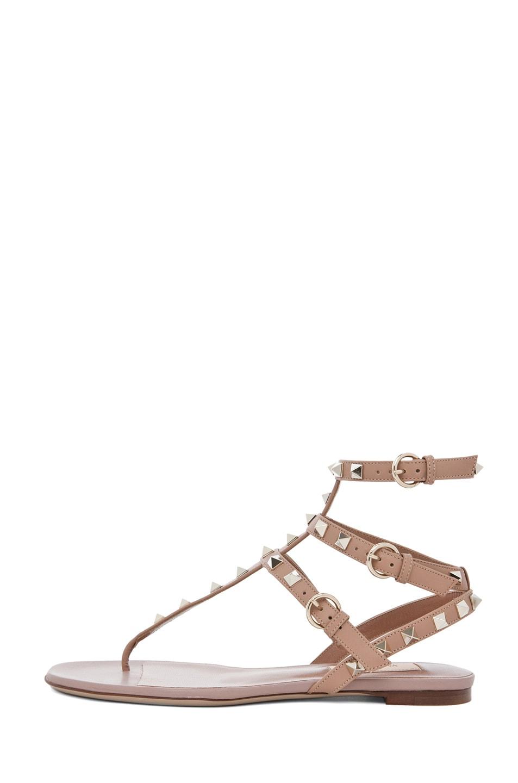 Image 1 of Valentino Rockstud Leather Gladiator Sandal T.05 in Soft Hazelnut & Nude & Platinum