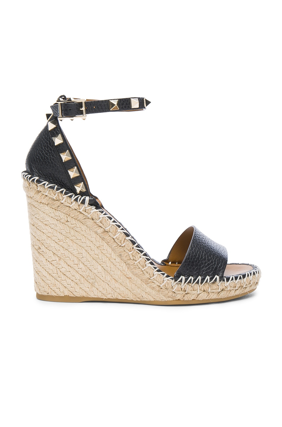 Image 1 of Valentino Leather Rockstud Espadrilles in Black