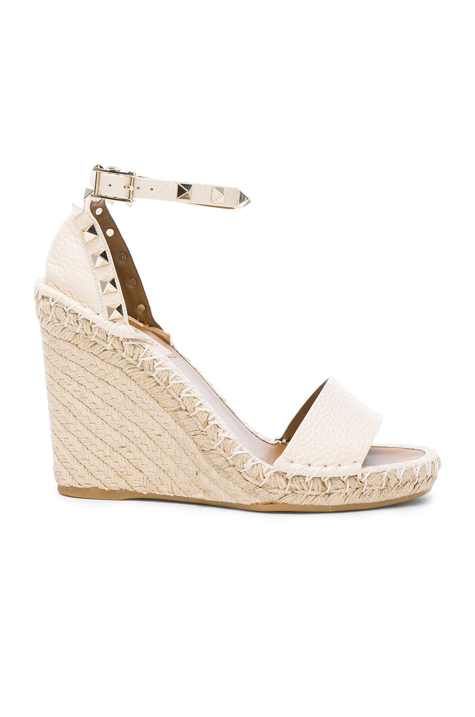 Image 1 of Valentino Leather Rockstud Espadrilles in Light Ivory