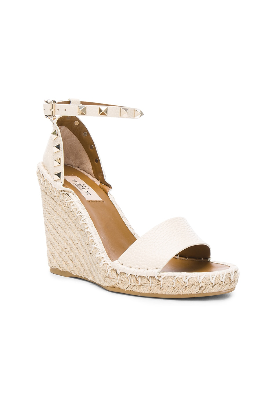 Image 2 of Valentino Leather Rockstud Espadrilles in Light Ivory