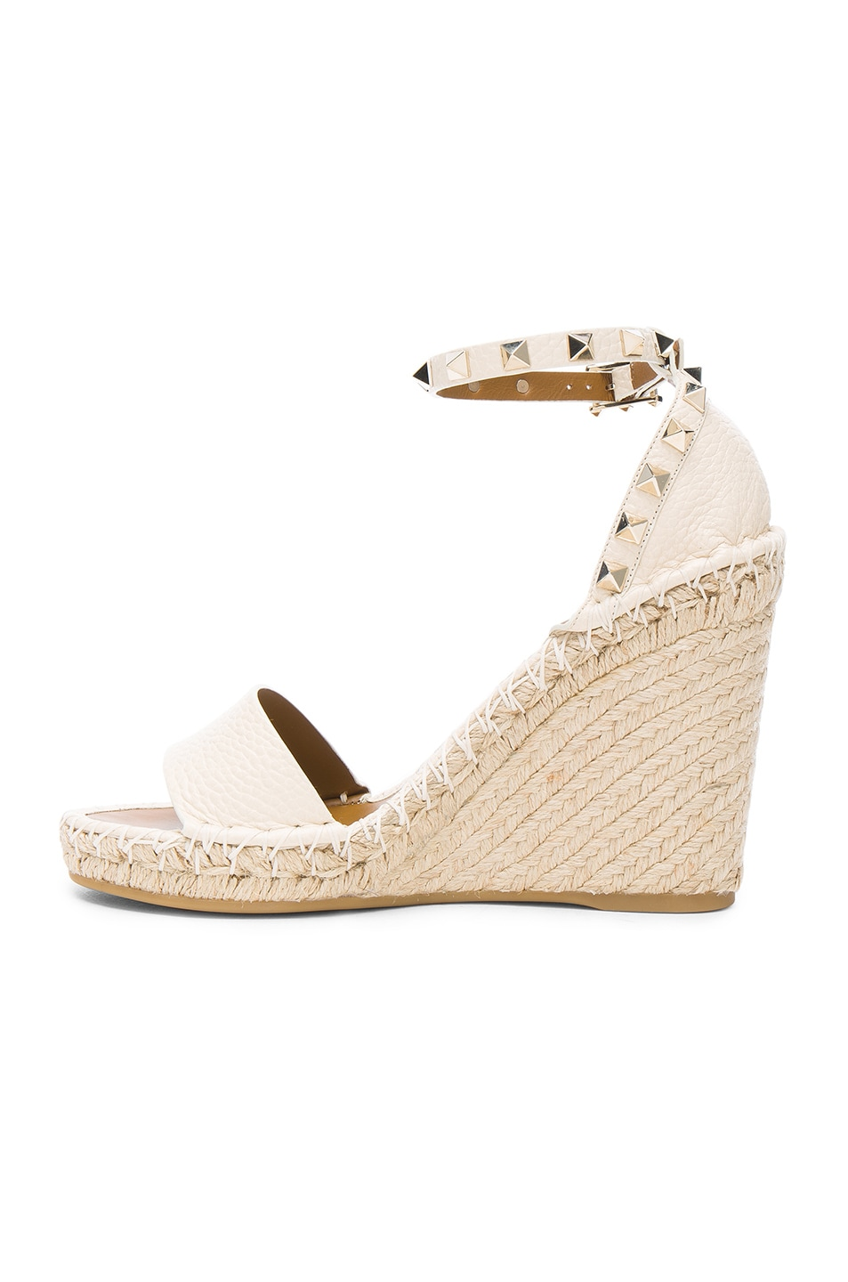 Image 5 of Valentino Leather Rockstud Espadrilles in Light Ivory