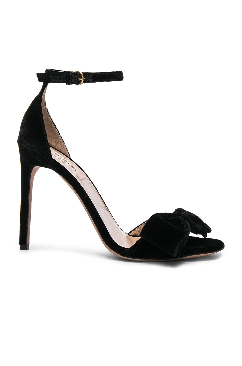 Image 1 of Valentino Velvet Bow Heels in Black