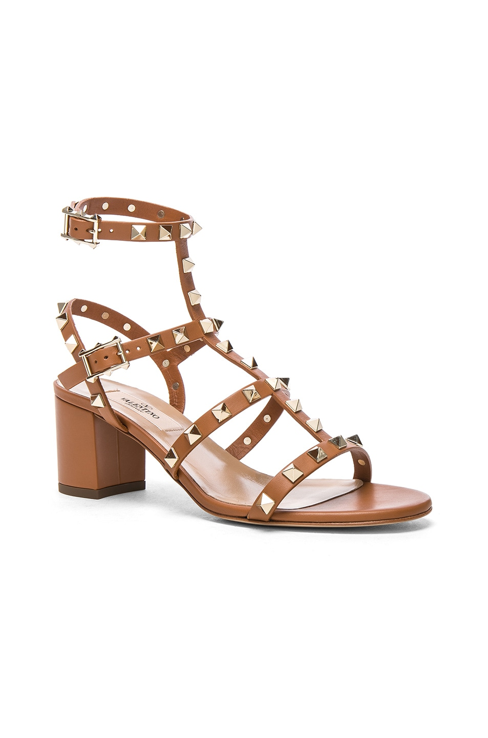 Image 2 of Valentino Leather Rockstud Sandals in Light Cuir