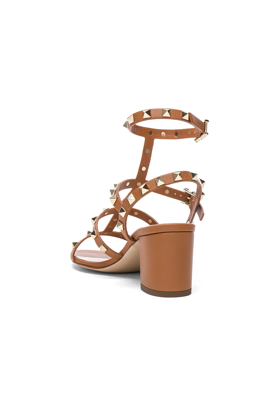 Image 3 of Valentino Leather Rockstud Sandals in Light Cuir