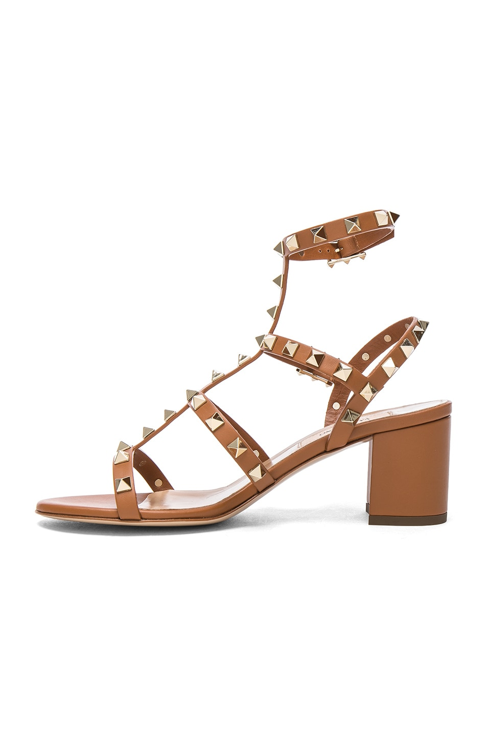 Image 5 of Valentino Leather Rockstud Sandals in Light Cuir