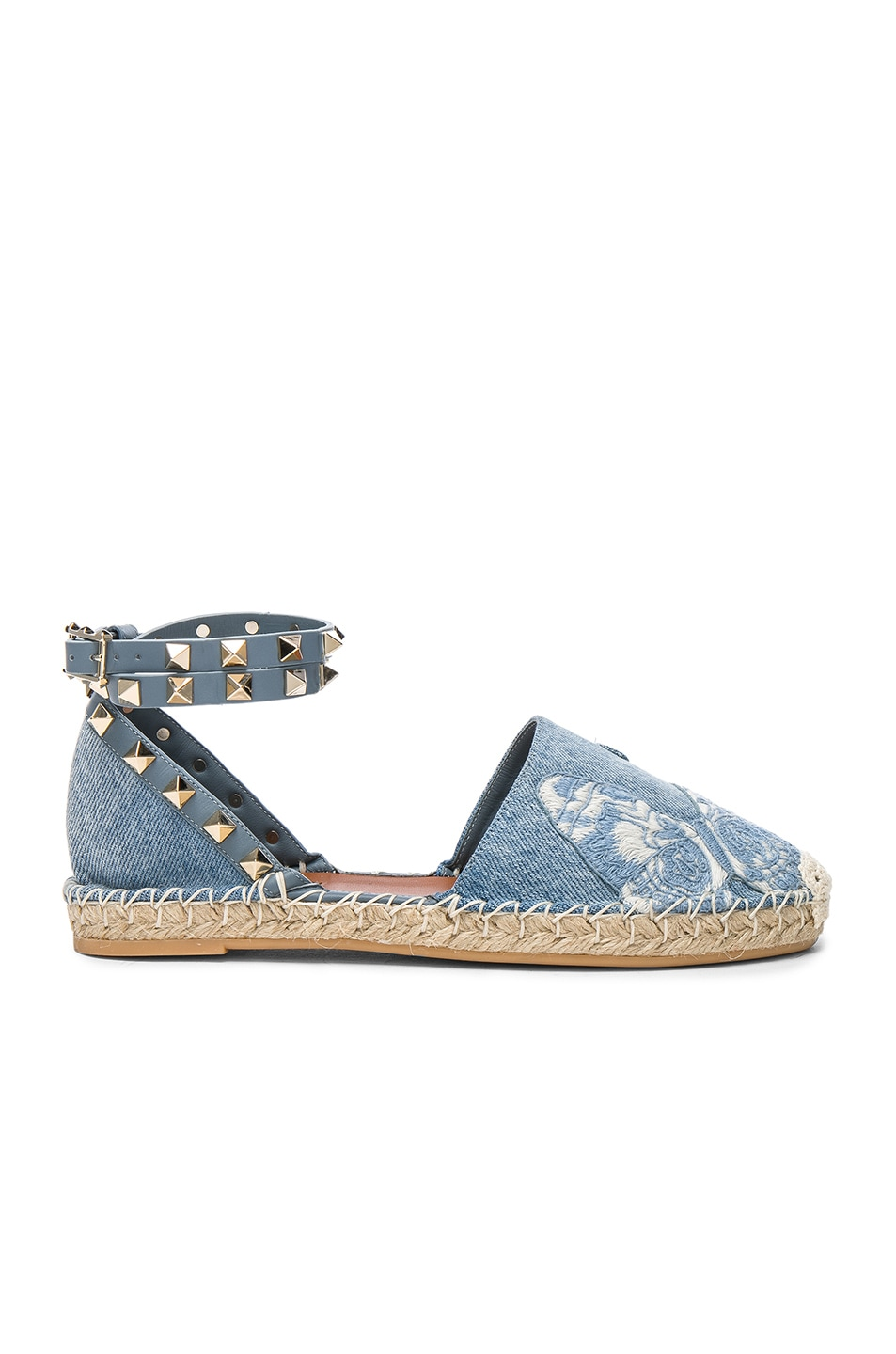 Image 1 of Valentino Embroidered Butterfly Denim Espadrilles in Light Denim