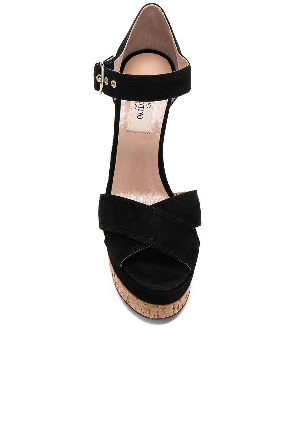 Image 4 of Valentino Suede Erin B Sandals in Black