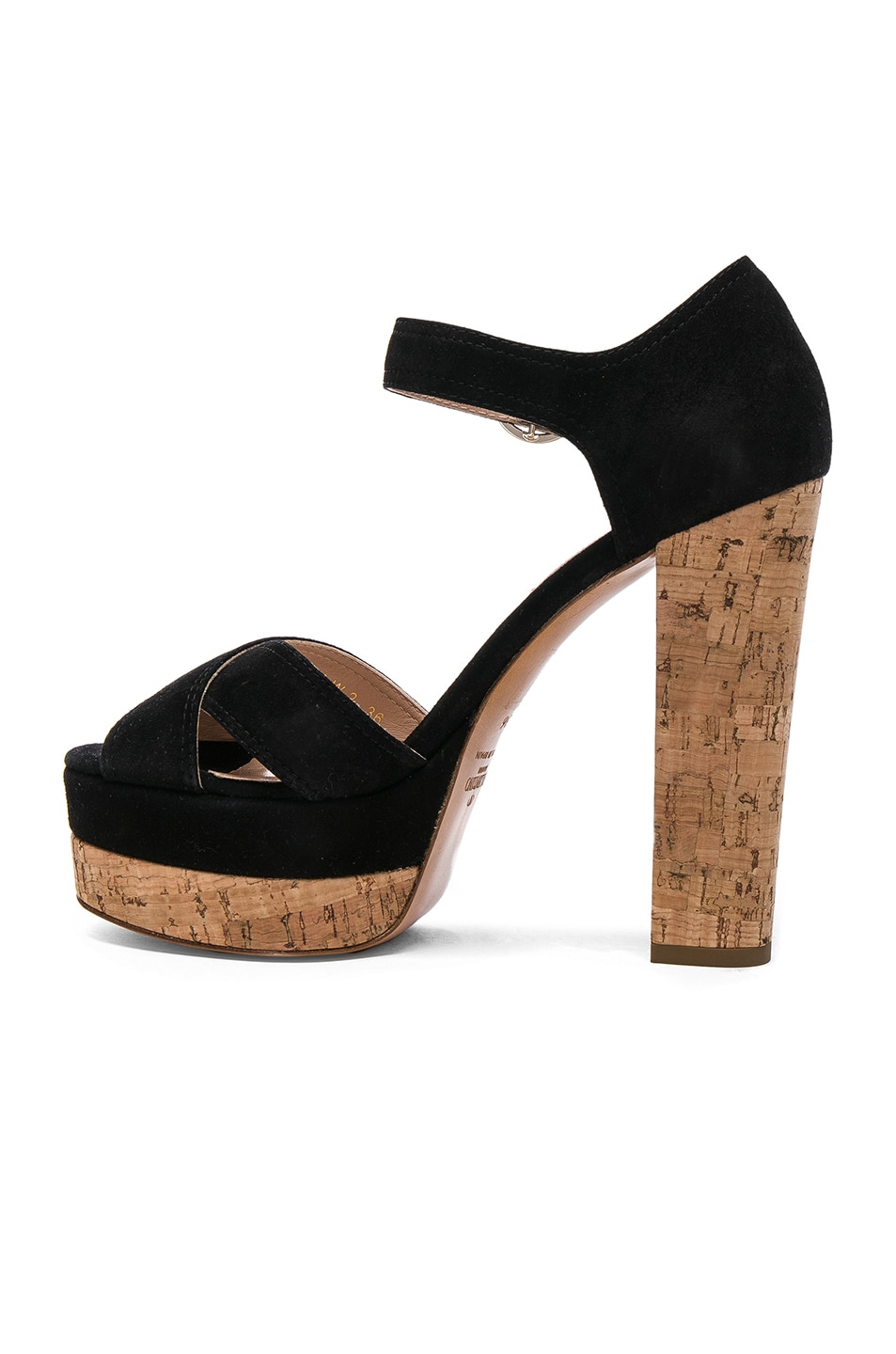 Image 5 of Valentino Suede Erin B Sandals in Black