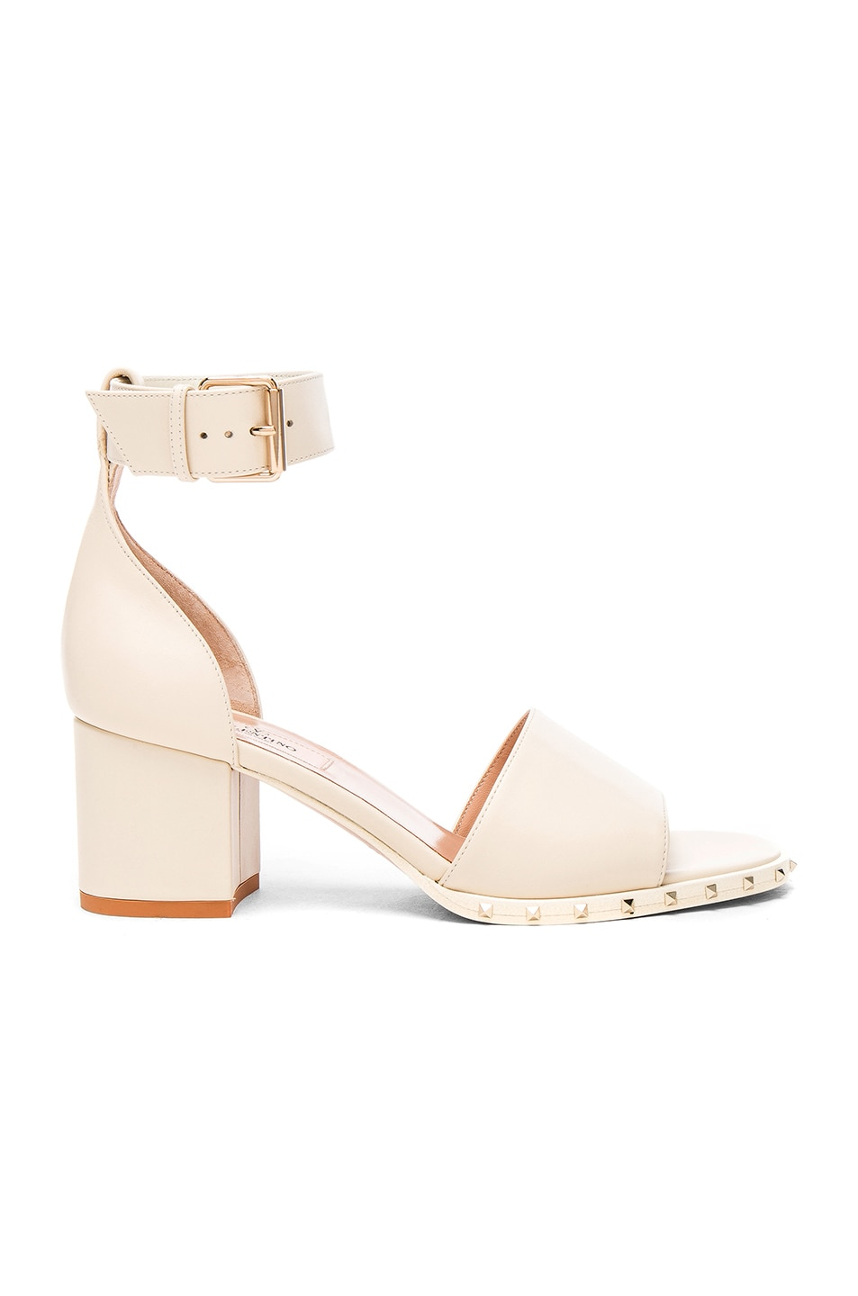 Image 1 of Valentino Leather Soul Rockstud Sandals in Light Ivory