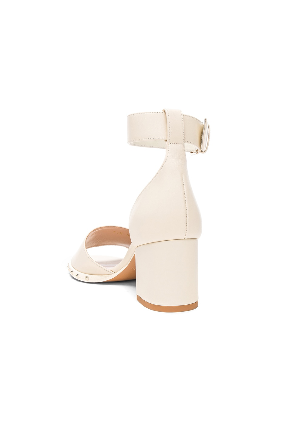 Image 3 of Valentino Leather Soul Rockstud Sandals in Light Ivory