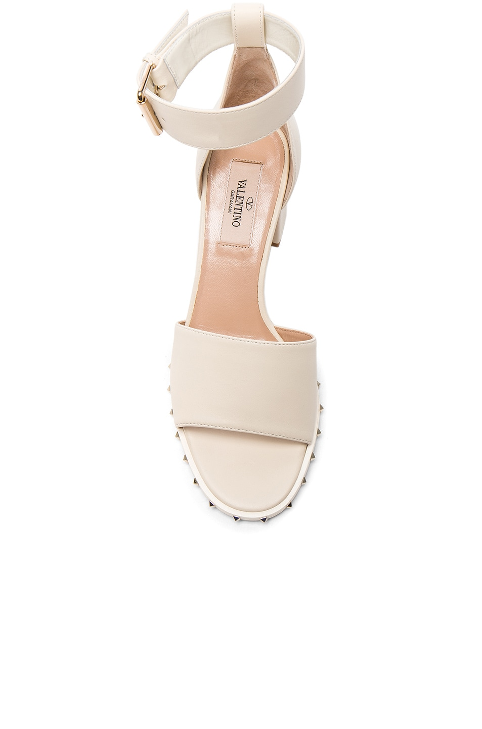 Image 4 of Valentino Leather Soul Rockstud Sandals in Light Ivory