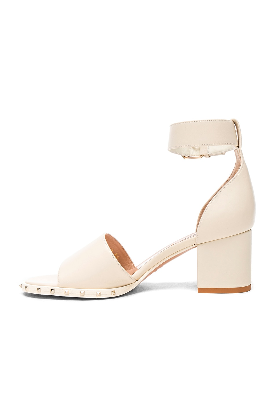 Image 5 of Valentino Leather Soul Rockstud Sandals in Light Ivory