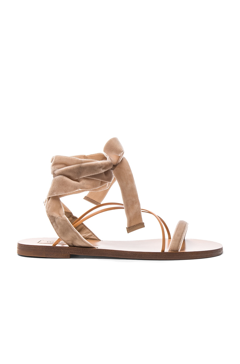 Image 1 of Valentino Flat Velour Ankle Tie Sandals in Soft Noisette & Natural