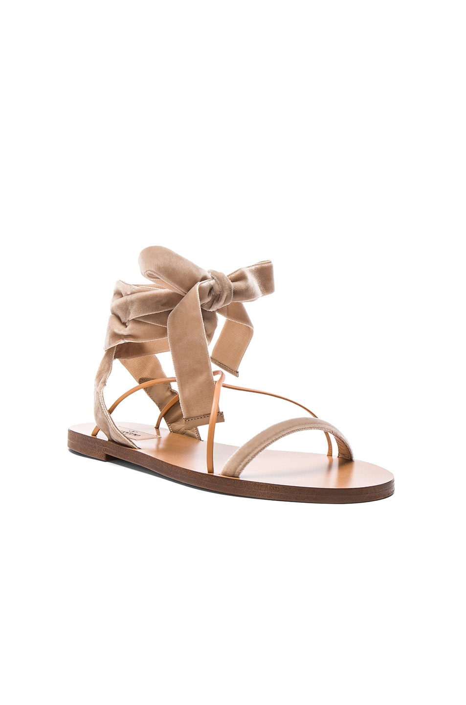 Image 2 of Valentino Flat Velour Ankle Tie Sandals in Soft Noisette & Natural
