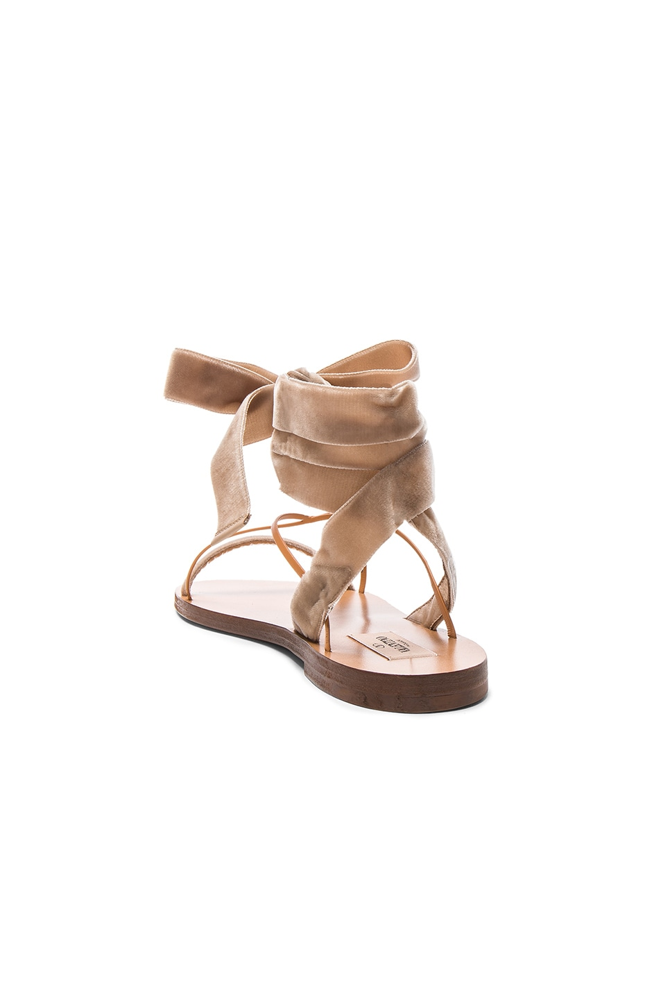 Image 3 of Valentino Flat Velour Ankle Tie Sandals in Soft Noisette & Natural