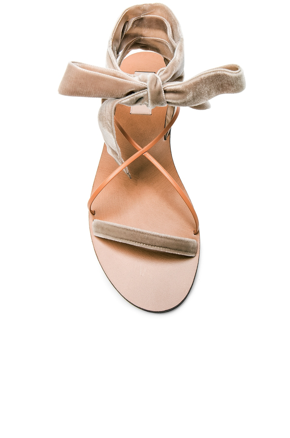 Image 4 of Valentino Flat Velour Ankle Tie Sandals in Soft Noisette & Natural