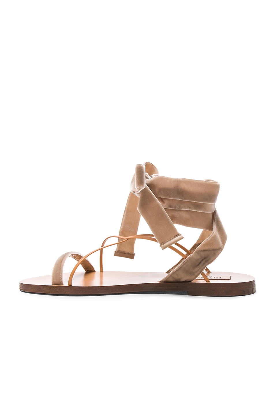 Image 5 of Valentino Flat Velour Ankle Tie Sandals in Soft Noisette & Natural