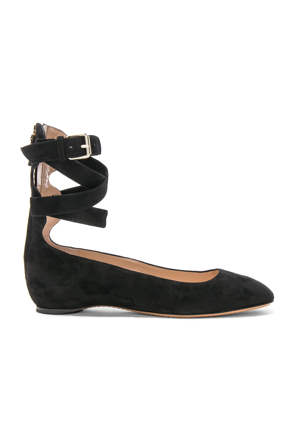 Image 1 of Valentino Suede Ankle Strap Flats in Black