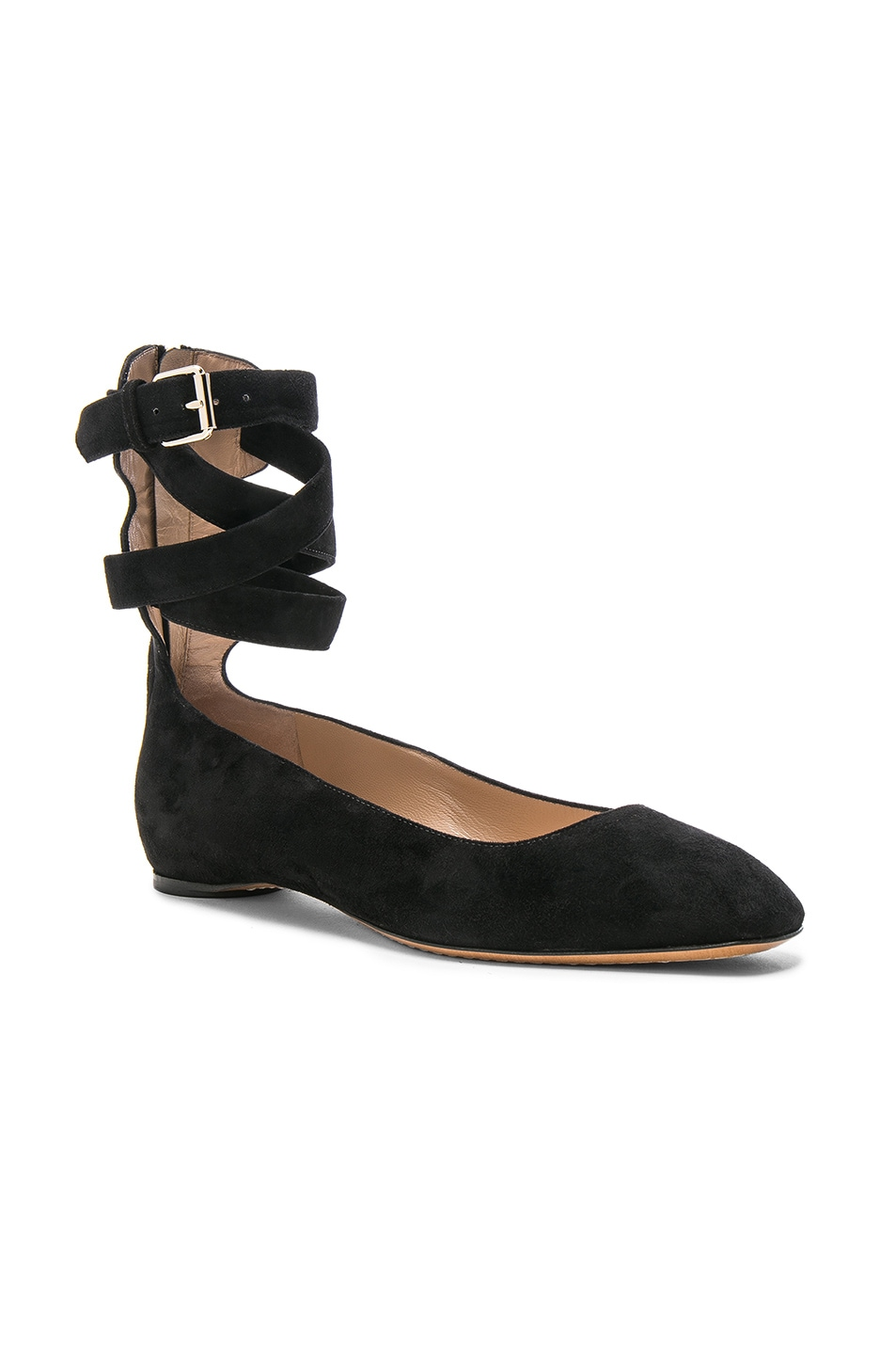 Image 2 of Valentino Suede Ankle Strap Flats in Black