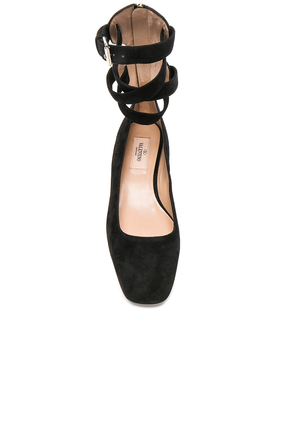 Image 4 of Valentino Suede Ankle Strap Flats in Black