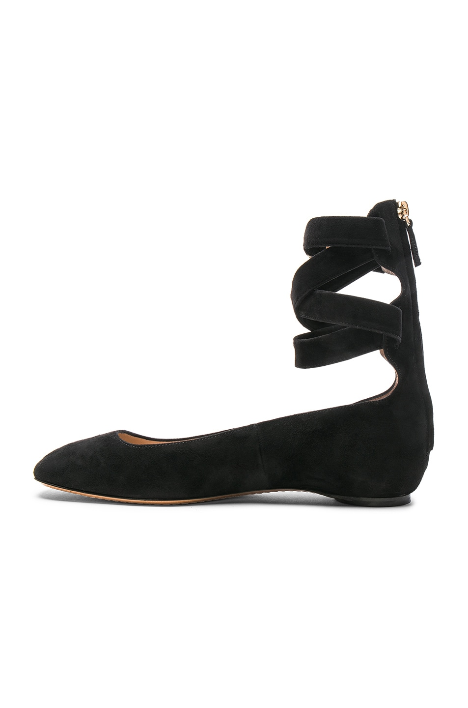 Image 5 of Valentino Suede Ankle Strap Flats in Black