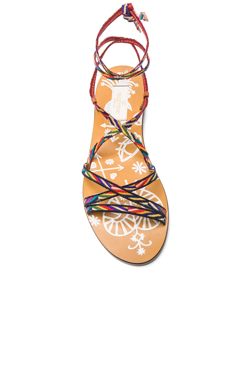 Image 4 of Valentino Embroidered Santeria Sandals in Multi