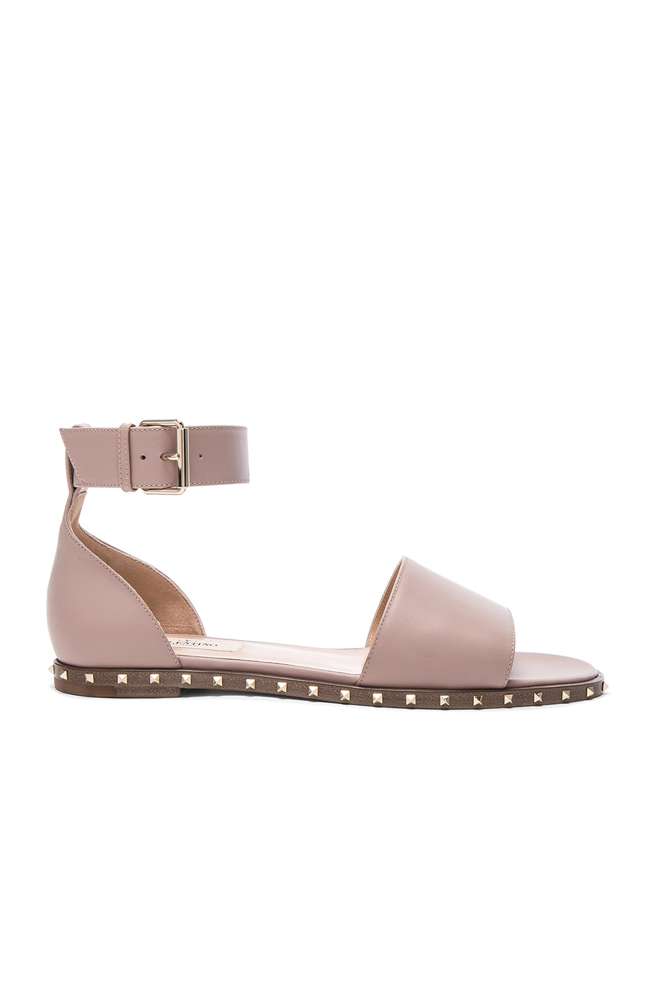 Image 1 of Valentino Leather Soul Rockstud Flat Sandals in Poudre
