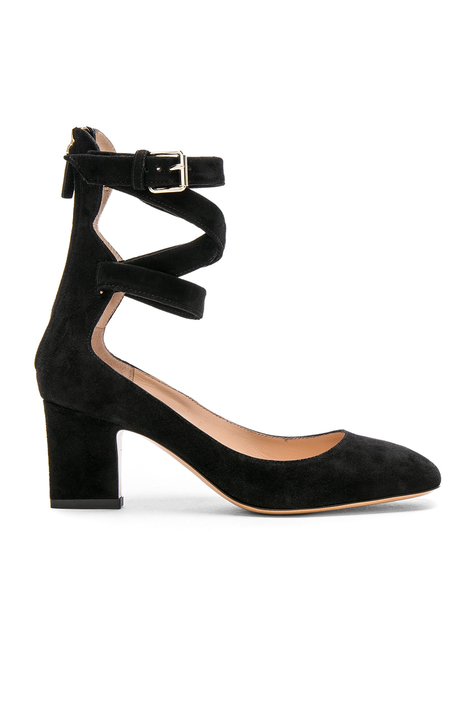 Image 1 of Valentino Suede Ankle Strap Heels in Black