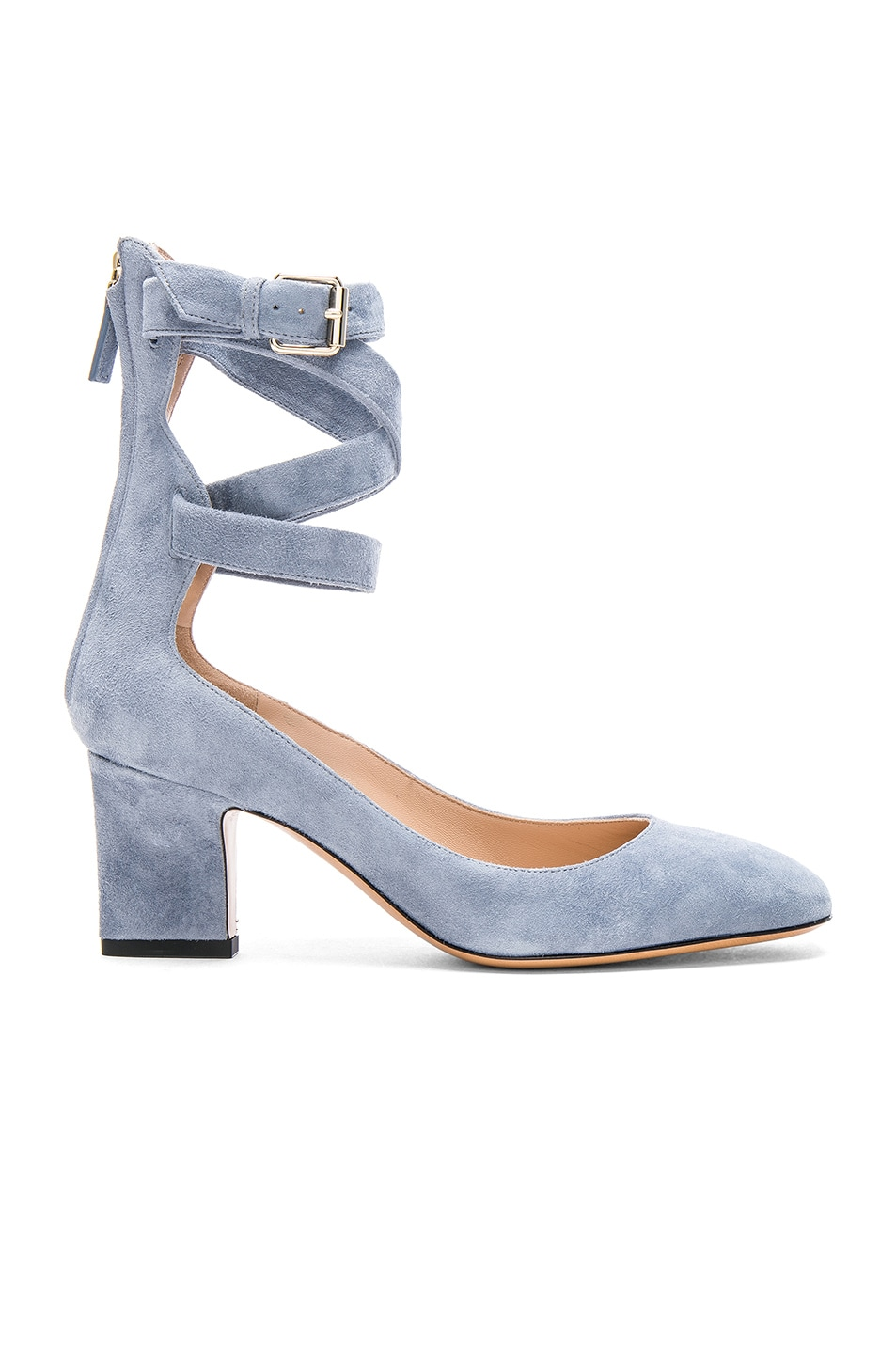Image 1 of Valentino Suede Ankle Strap Heels in London Sky