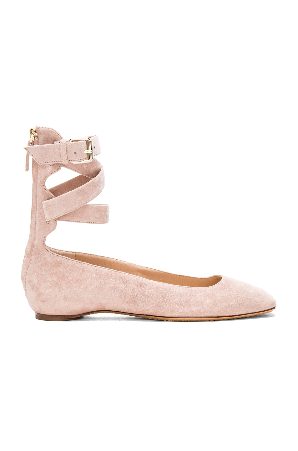 Image 1 of Valentino Suede Ankle Strap Flats in Poudre