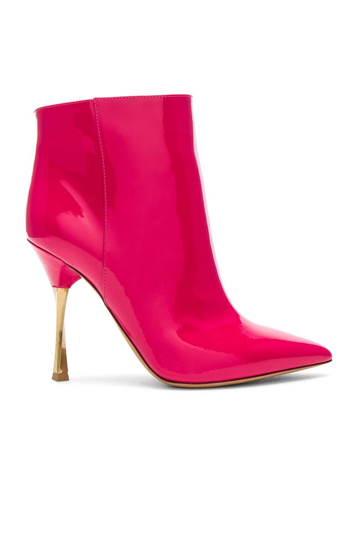 Valentino Garavani Twist-Heel Patent Ankle Bootie, Fuchsia