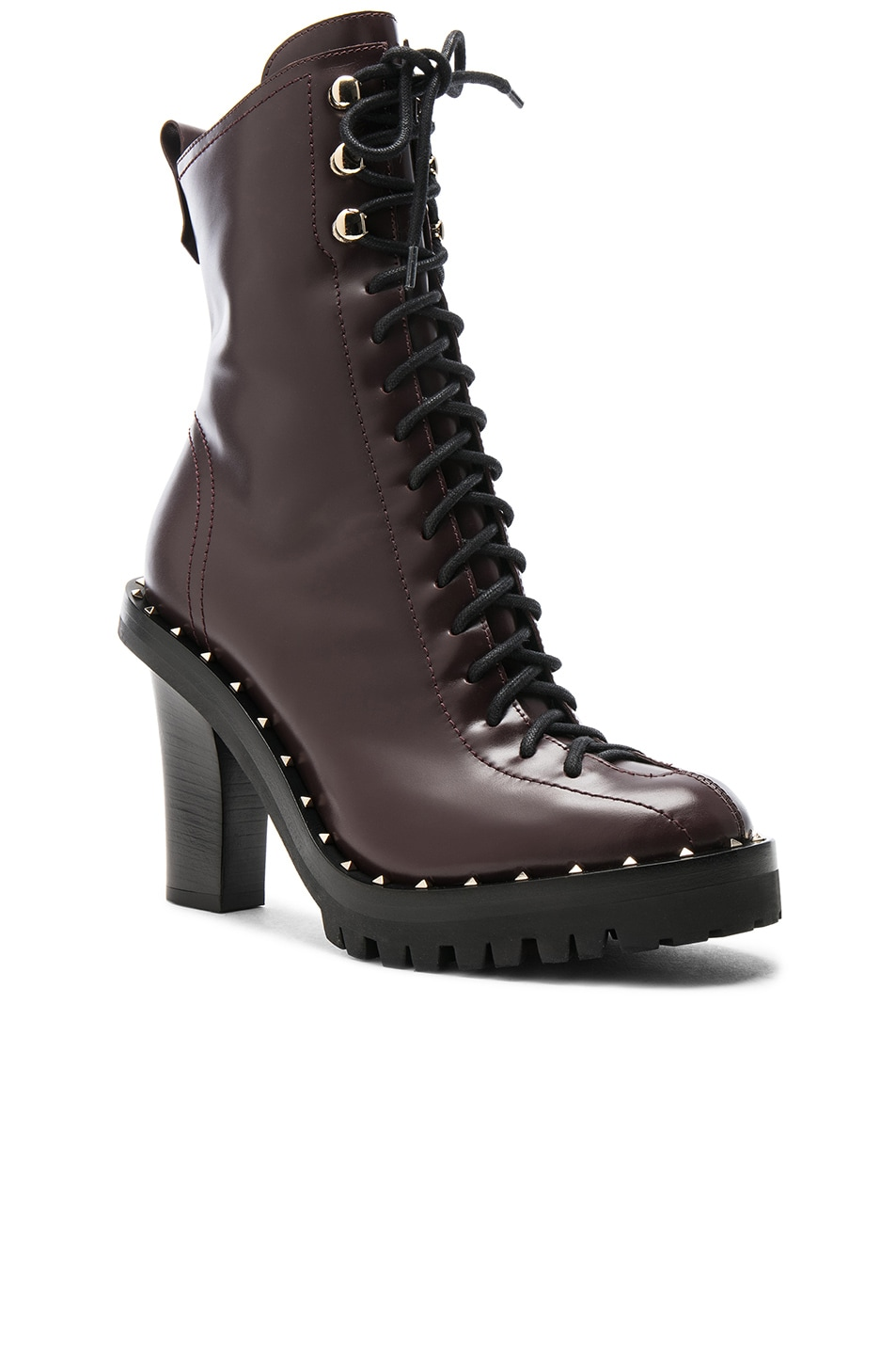Image 2 of Valentino Leather Soul Rockstud Boots in Deep Ruby